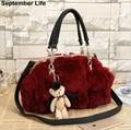2017 Winter Women Handbags Faux Rabbit Fur Bags Genuine Leather Shoulder Tote Bags Sac a Main Femme Clutch