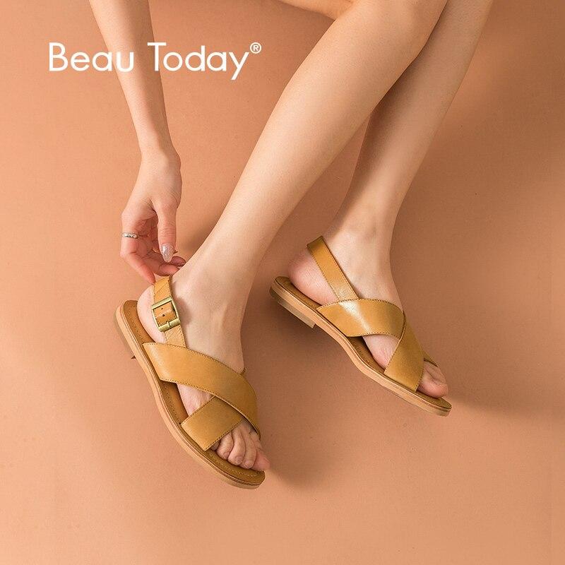 BeauToday Platte Zomer Sandalen Echt Kalfsleer Gesp Casual Stijl Soft Top Kwaliteit Dames Schoenen 32050-in Lage Hakken van Schoenen op  Groep 1