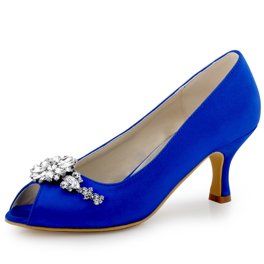 HP1541 Teal Navy Blue Women Bride Bridesmaids Peep toe Prom Pumps Low Heels Satin Lace Rhinestones Wedding Bridal Party Shoes hc1610 burgundy women bride bridesmaids dress court pumps pointed toe d orsay stiletto heels buckle satin wedding bridal shoes