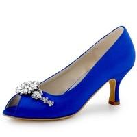 HP1541 Teal Navy Blue Women Bride Bridesmaids Peep toe Prom Pumps Low Heels Satin Lace Rhinestones Wedding Bridal Party Shoes