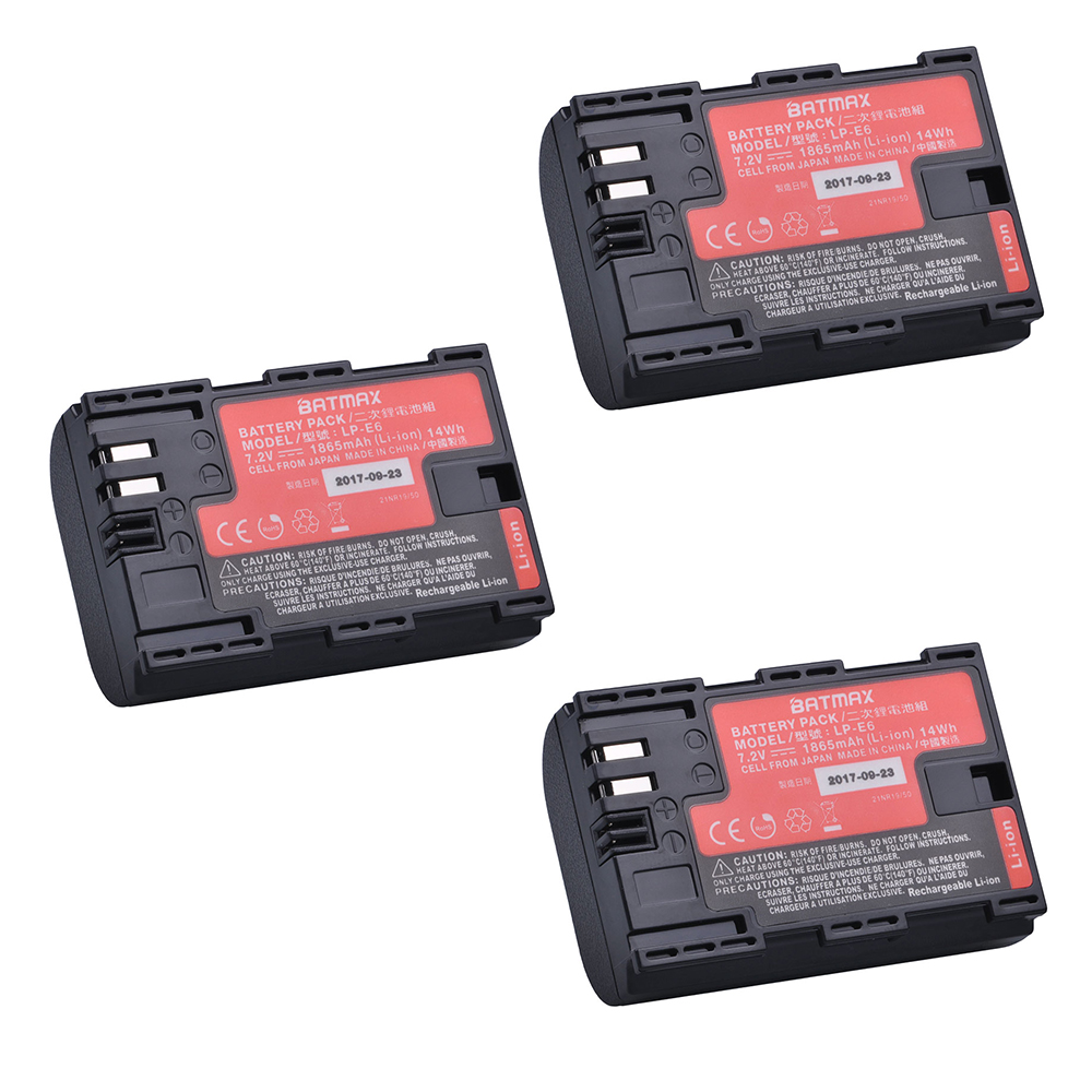 3Pc Sanyo Cells LP-E6 LP E6 LPE6N Camera Battery AKKU for Canon DSLR EOS 5D Mark II Mark III 60D 60Da 7D 70D 6D Camera accessory