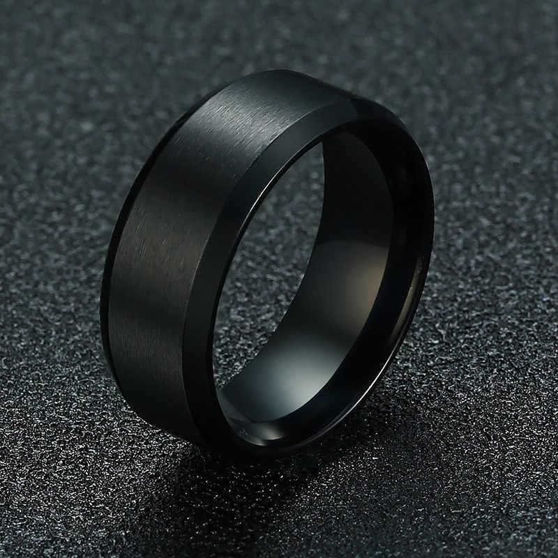 ZORCVENS 2019 ใหม่แฟชั่น 8 มม.แหวนชาย 316L เครื่องประดับสแตนเลสแหวนสำหรับ Man