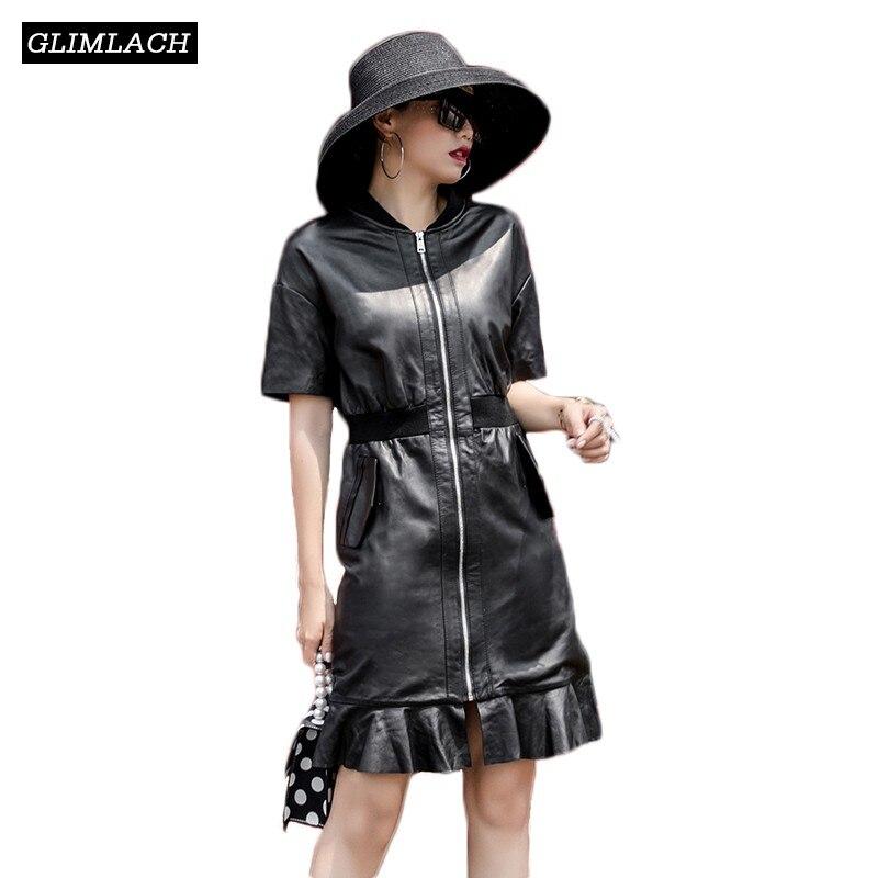 2019 Nouveau Harajuku Ruches Véritable vestes en cuir robe pour femmes Slim En Cuir Véritable Manteaux en peau de Mouton Zipper Automne Survêtement Robes