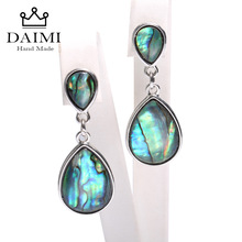 DAIMI Tear Drop Fine Jewelry Earrings Abalone shellfish Earrings Dangle Earrings 925 Silver Clip Earrings Eye catching Jewelry