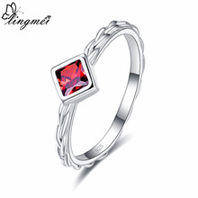 lingmei New 2019 Pretty Fashion Wedding Princess Cut Red & Olive Green Zircon Women Jewelry 925 Silver Ring Size 6 7 8 9 Gifts(China)