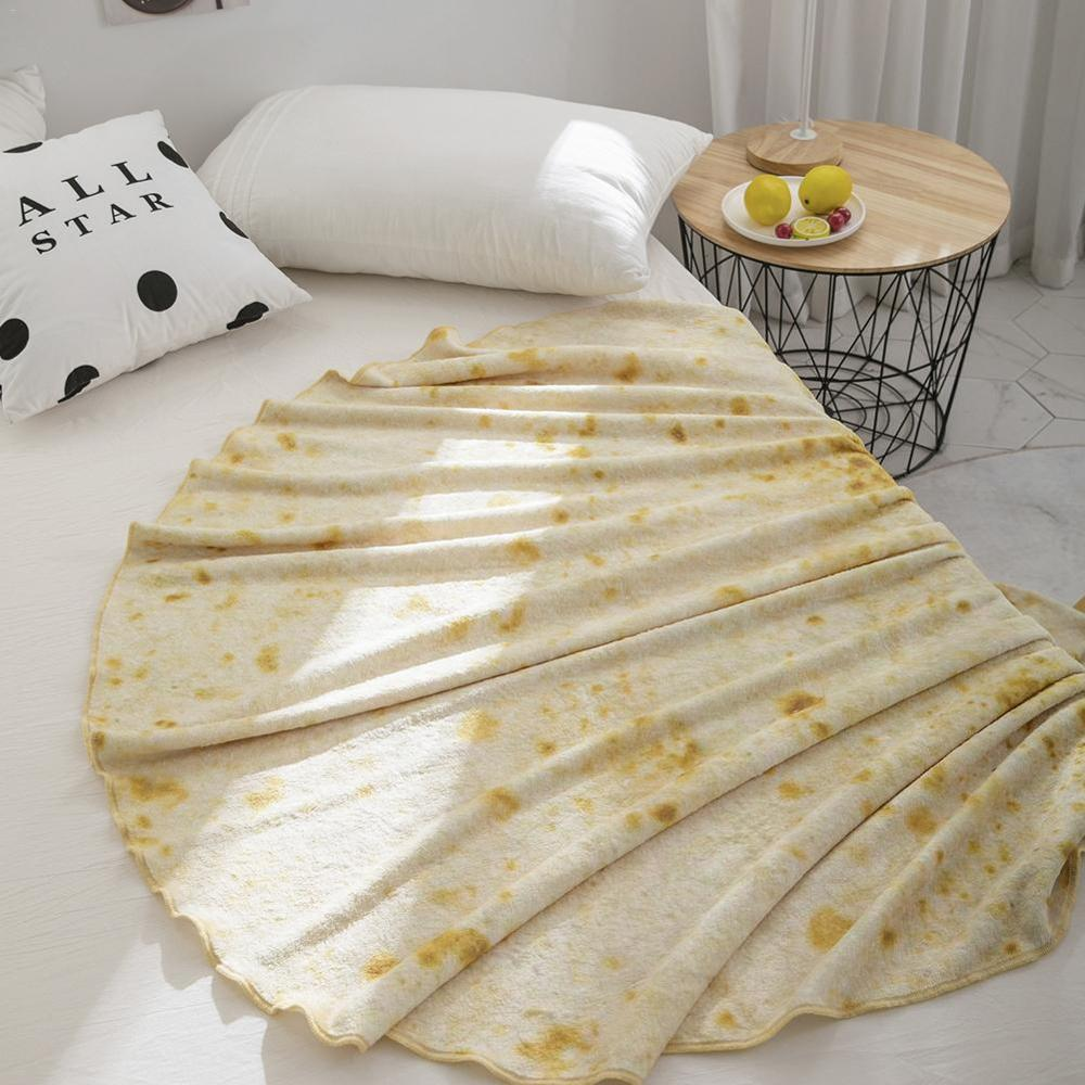 Round Tortilla Burrito Blanket Made of Plush Fabric for Office And Home Use