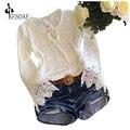Корея Мода О Шея Кружева Сращивания С Длинным Рукавом Выдалбливают Бинты Вырез Тонкий Вскользь Женщин Блузки Топы Белый