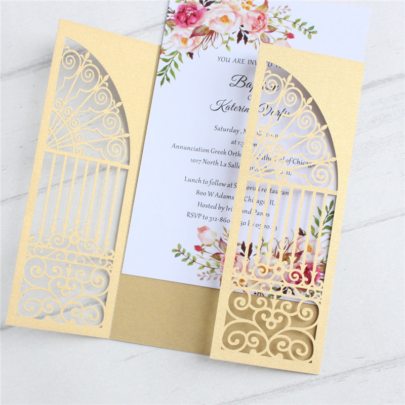 Door laser cut wedding invitations gold green navy blue multi colors pearl paper personalized printing