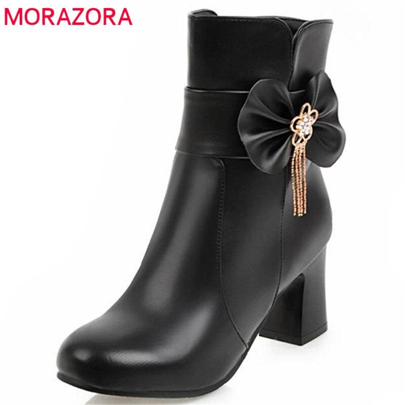 MORAZORA 2020 grande taille 33-44 nouvelles chaussures de mode femme bout rond automne hiver dames bottes zipper simples bottines pour femmes