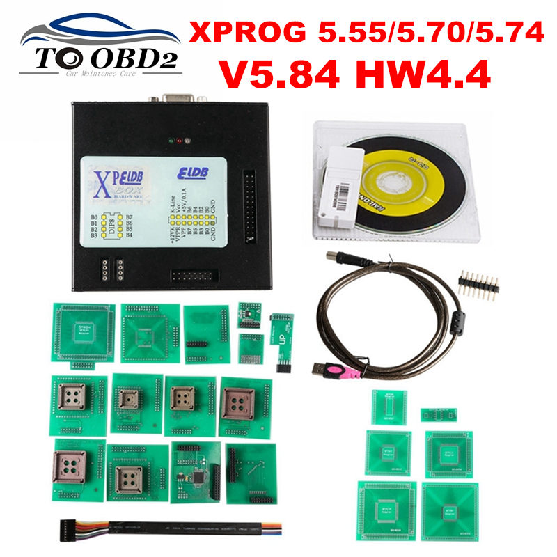 Newest XPROG 5.84 Firmware V4.4 Add Add More Authorization Black Metal Box XPROG-M V5.55 V5.70 V5.74 V5.84 X-PROG V5.84