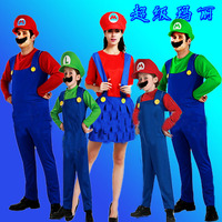 Free Shipping Children Funy Cosplay Costume Super Mario Luigi Brothers Plumber Fancy Dress Up Party Costume