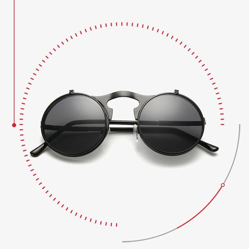 edac09215a Steampunk Retro círculo redondo Vintage Flip Up gafas de sol de las mujeres  de los hombres