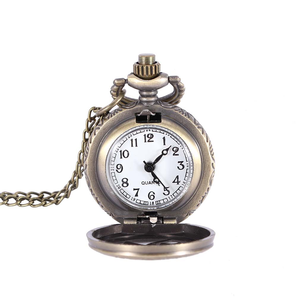 Vintage Design Pocket Fob Watches Antique Jewelry Hollow Out Floral Quartz Number Pocket Watch