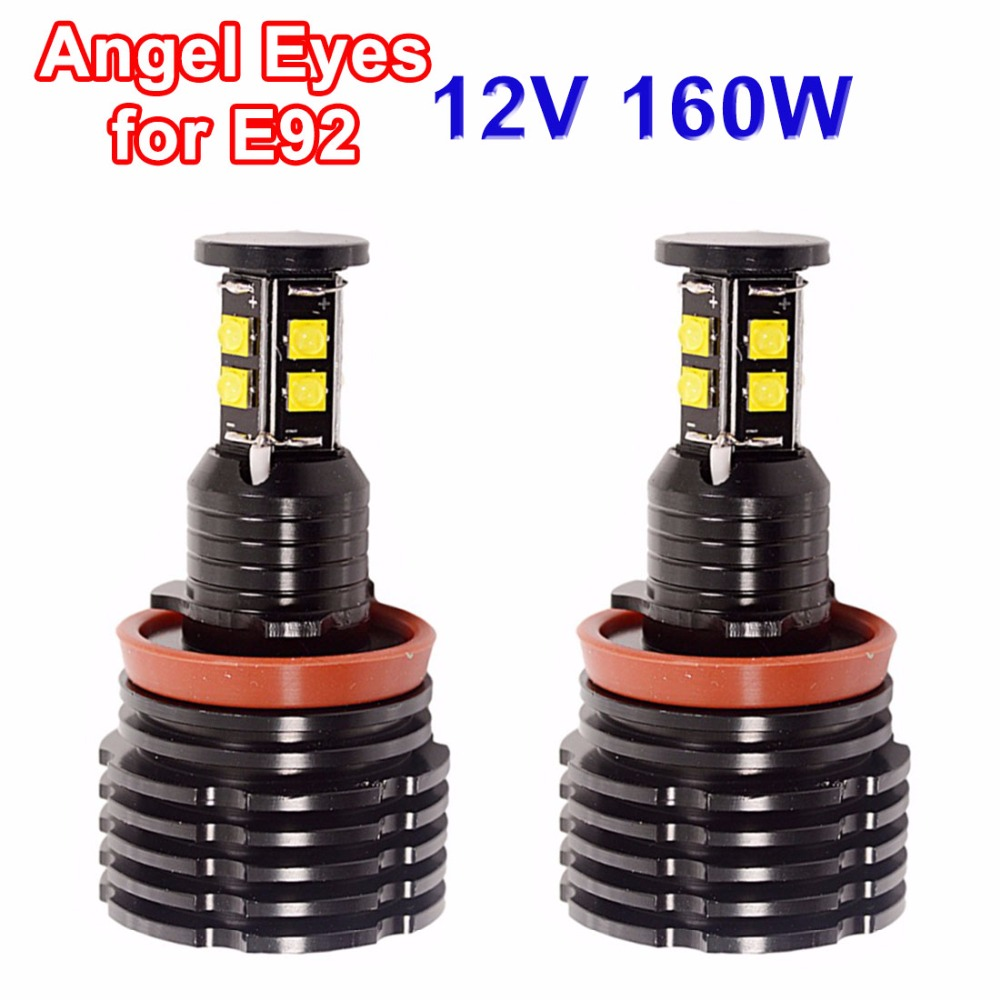 купить hippcron 2*80W 160W LED Angel Eyes H8 Marker CREE LED Chips XENON White 7000K for BMW E92 E81 E82 E87 E88 E90 E91 E93 E63 E64 онлайн