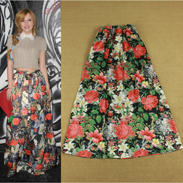 c61593d4d4 2014 Spring Summer New Casual Bohemian Daily New Ankle-Length Floral Print  Black Silk Skirt
