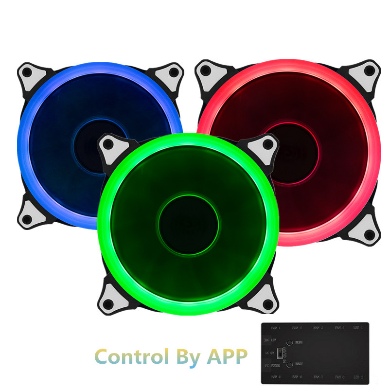 ФОТО 3pcs RGB Case Cooling Fan 120mm With Wifi Controller MobilePhone APP Fan Controller Adjustable LED Ring RGB Fan 6pin Triple Pack