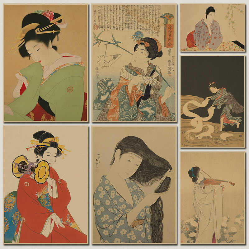 retro // kraft paper posters decorated posters Japan Ukiyo B painted paragraph