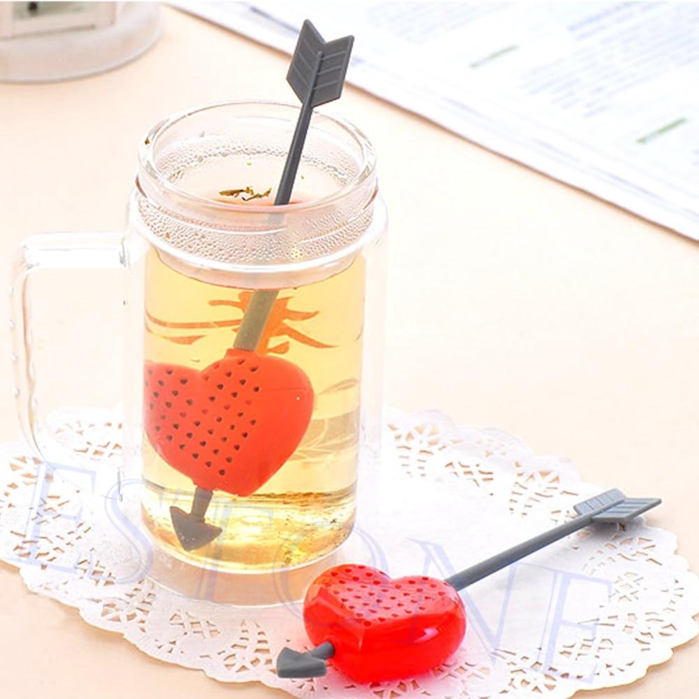 Cute Cupid Arrow Love Heart Tea Leaf Herb Infuser Filter Strainer Stirrer Teabag