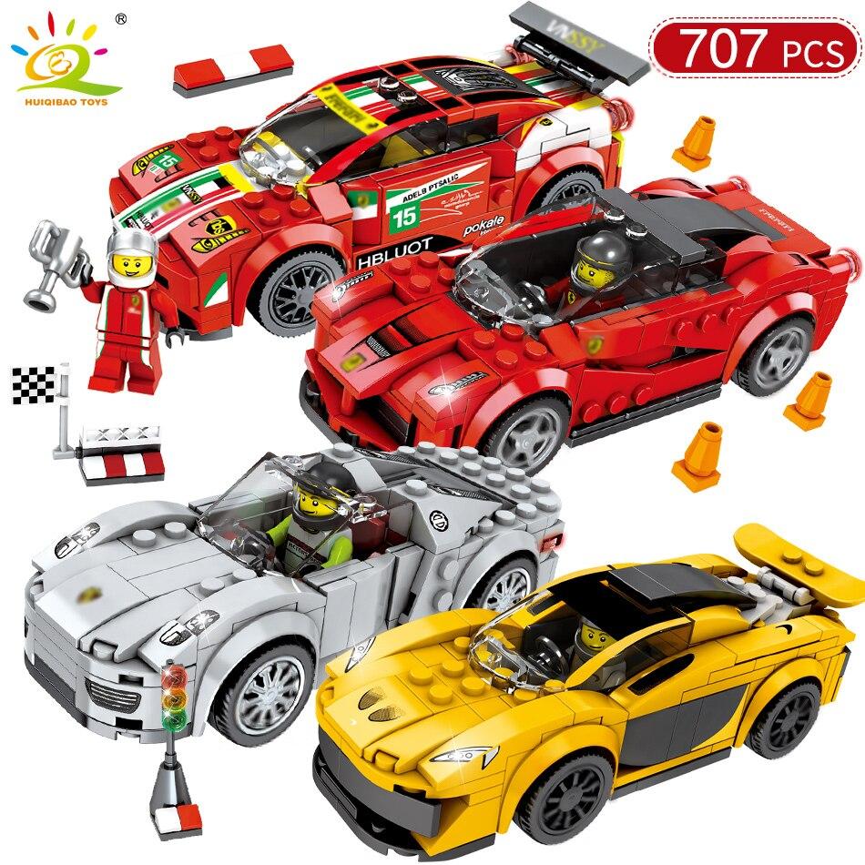 707 piezas coche de carreras de velocidad campeones DIY bloques de construcción Compatible Legoed técnica ciudad Racer cifras coches deportivos de ladrillo juguetes para chico