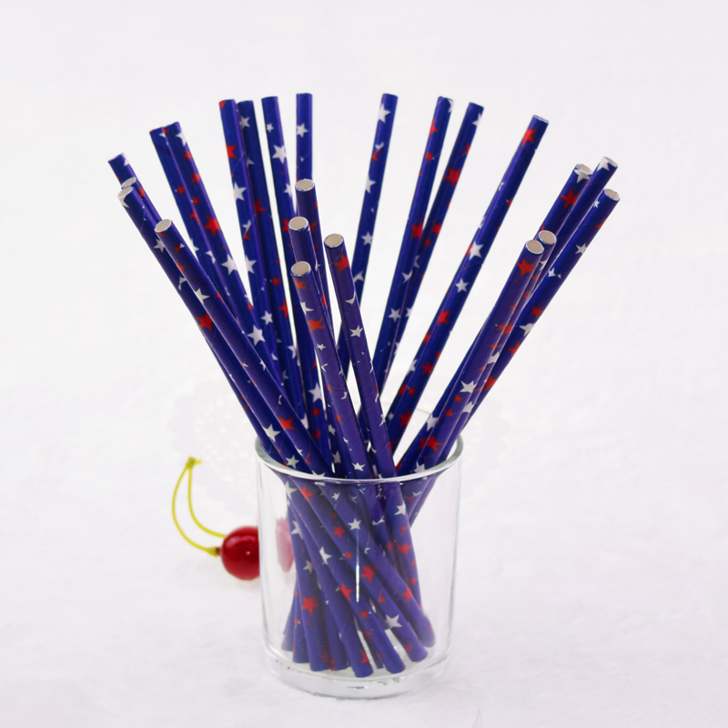 500pcs Paper Drinking Straws Blue Star Hawaiian Luau Chevron Biodegradable Paper Straw Baby Shower Wedding Birthday DIY Party in Disposable Party Tableware from Home Garden