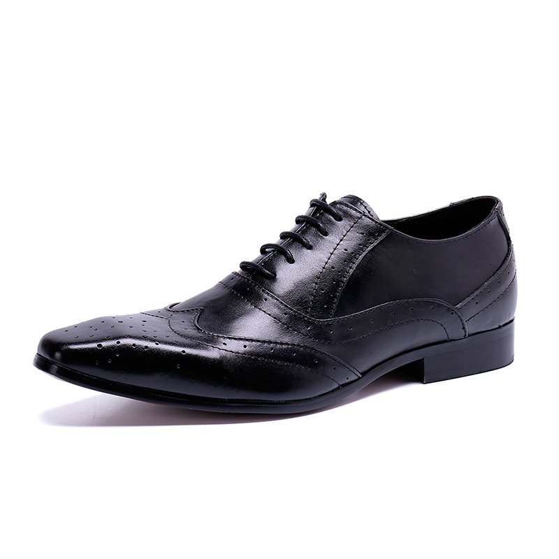 2019 Formal Mens Dress Wedding Shoes Genuine Leather Black/Brown Lace-Up Basic Flats For Men Office Size:6-10 Luxury Designer2019 Formal Mens Dress Wedding Shoes Genuine Leather Black/Brown Lace-Up Basic Flats For Men Office Size:6-10 Luxury Designer