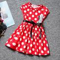 2017 Cotton cute bow Girls dot dress children dress children's cartoon