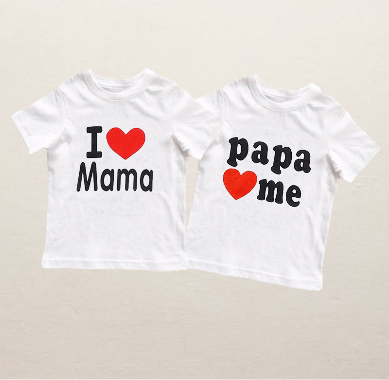 Summer Baby T-shirt I Love Mama/Papa Love Me Baby Clothes Baby Kids Girl Boy Cotton White Letter Tshirt Tops 0-10Y(China)