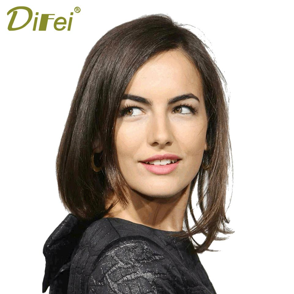 DIFEI Synthetic Black Costume Party Wigs Short Black Bob Wigs without Bangs for Women Short Straight Cosplay Wig