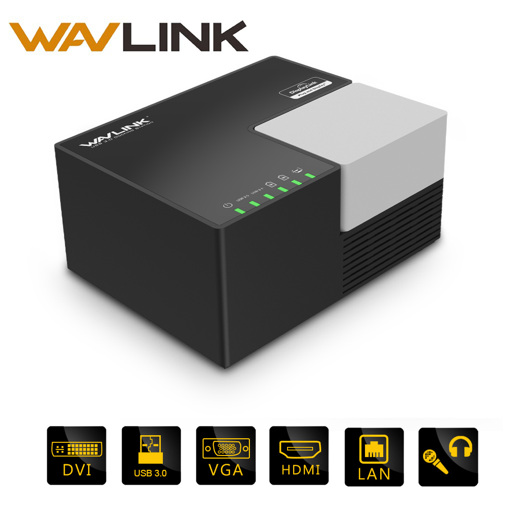 Wavlink 4GB 9Port Universal USB3.0 Dual Laptop Video Docking Station with DVI HDMI to 2048*1152 6 USB Hub Quick Charging Gigabit