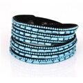 2016 novas cores da moda de cristal mulher beather envolto em pulseiras & bangles multilayer pulseira de strass atacado azul
