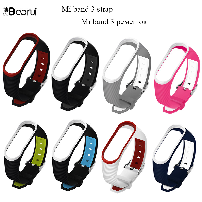 BOORUI Mi Band 3 Strap Double Color Correa Mi Band 3 Wrist Strap Silicone Replacement For Xiaomi Mi 3 Smart Band With Buckle