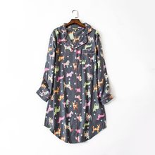 2019 Spring Female Casual cartoon nightydress Ladies 100% Brushed Cotton  Nightgown Women Turn-down 22d43dd10