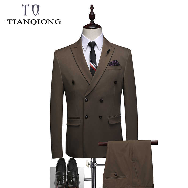 Double Breasted Men's Suits Business 3 Pieces Suits Elegant Basic Masculine Wedding Suits Dinner Party Suits Coat Pant Designs