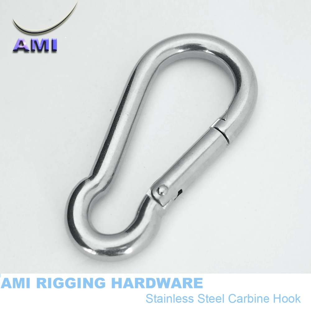 FREE POSTAGE 2 x 6mm 316 Stainless Carbine Hook with Eyelet
