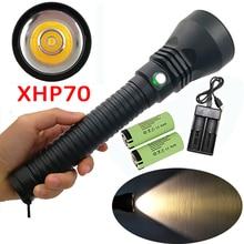 Желтый светильник 5000LM XHP70 светодиодный Дайвинг вспышки светильник Водонепроницаемый подводного погружения фонарь лампа+ 2x26650 Батарея+ Зарядное устройство