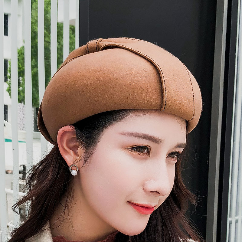 SUOGRY 2018 Winter Women Fedora Hat Formal Fascinator Hat Bowknot Pillbox Hat Lady Pure Wool Beret Cap Party Headwear