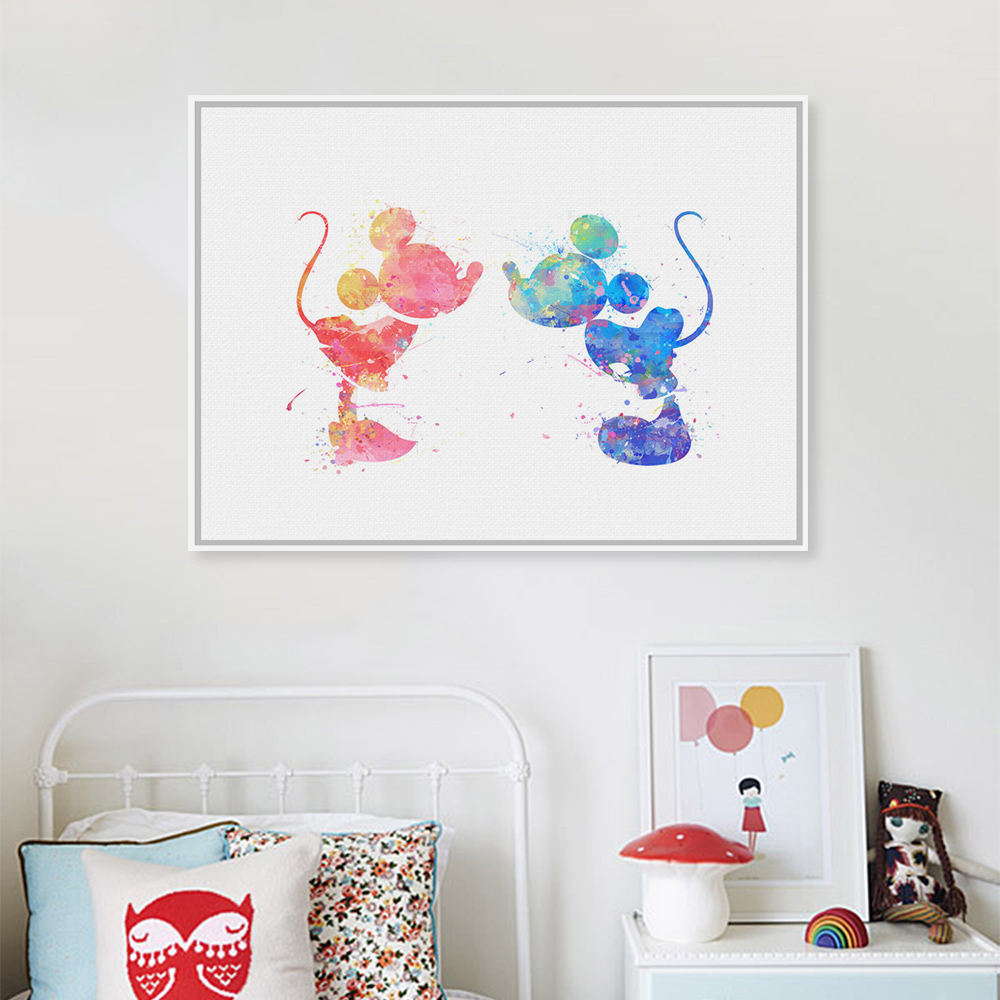 Canvas Painting Poster Watercolor Wedding-Decoration Couple Mickey-Mouse Prints Home-Wall-Pictures