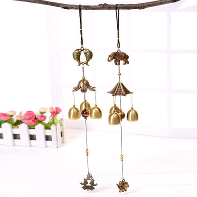 Retro Metal Bells Outdoor Decor Wind Chimes Pisces Elephant Ornaments  Wooden House Landscape Garden Wall Hanging