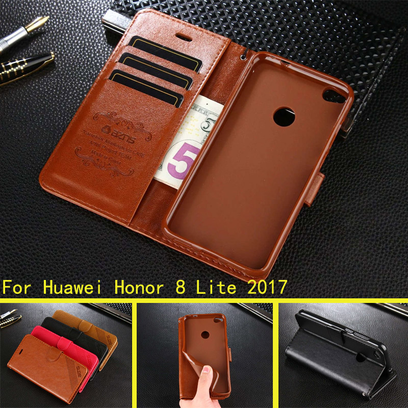 For Huawei P8 Lite 2017 Honor 8 Lite Case Hight Quality PU Leather Stand Case Book Flip Style Mobile Phone Cases in Flip Cases from Cellphones Telecommunications
