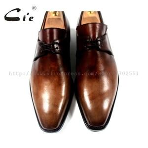Image 3 - cie Free Shipping Handmade Genuine Calf Leather Mens Dress/Classic Derby Color Brown Patina Square Toe Italian shape Shoe NoD43