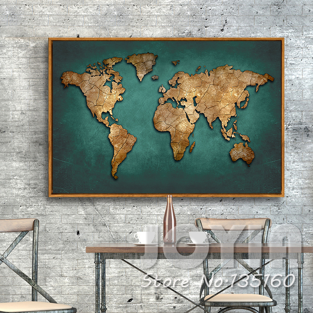 Single World Map Canvas Painting Abstract Vintage Dark Green Maps Art Picture Office Living Meeting Room