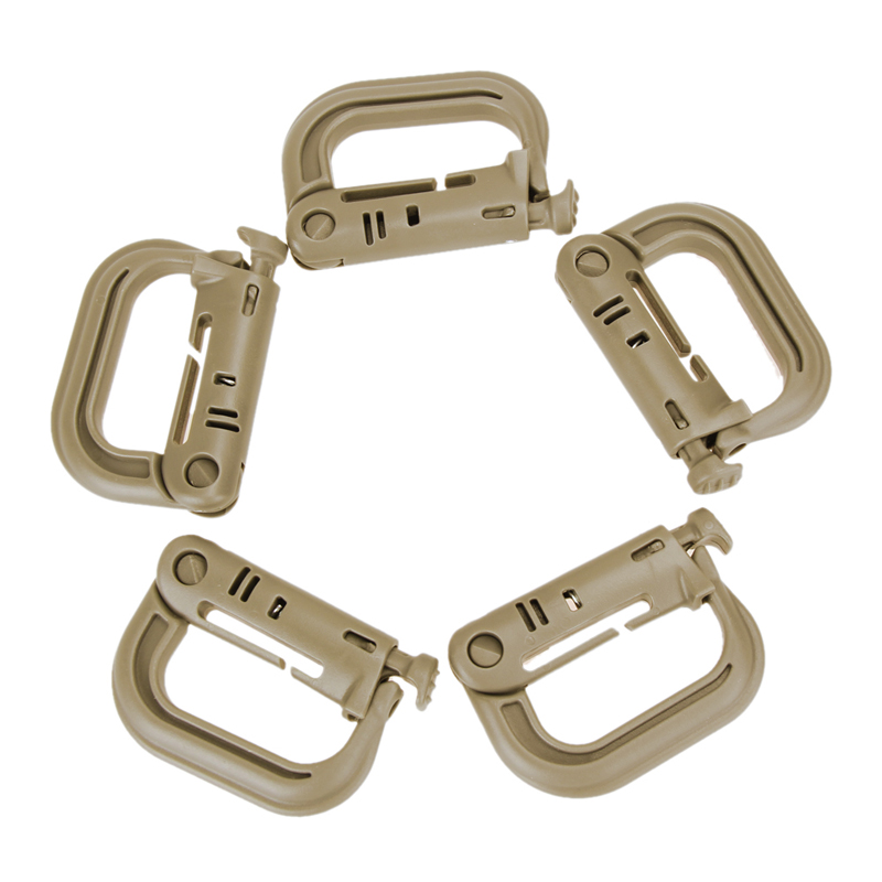 5PCS Grimloc Molle Carabiner D Locking Ring Mount D-Ring Clip Snap Hook Buckle Plastic 4 Color Climbing Accessories Outdoor Tool 360 degree rotation tactical d ring buckle for molle locking carabiner backpack khaki 2 pcs