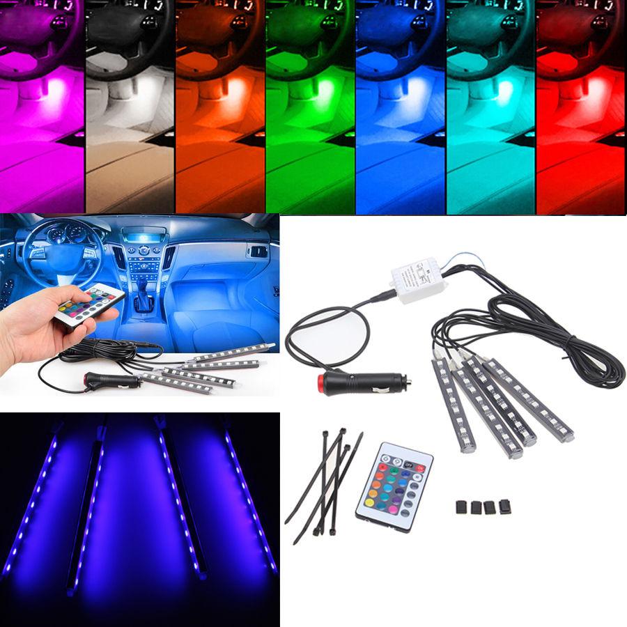 Prix pour 4 en Voiture De Commande Sans Fil Flwxible Floor Neon Lumières Porte Lampe avec Télécommande Voiture RGB LED Bande Lumière 7 Couleurs Brouillard lampe