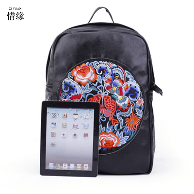 Fashion National Backpack Women Girls female Floral Shoulder Bags lady Vintage Embroidered Women's soft handle Travel Backpacks plus size floral embroidered drop shoulder sweater