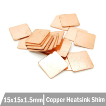 250pcs Copper Shim Pad Heatsink Cooling Laptop VGA 15*15*1.5mm Free Shipping