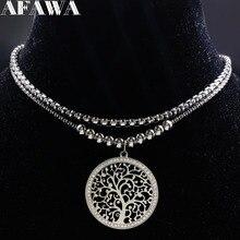 2018 de doble capa de árbol de la vida collar de acero inoxidable de las mujeres de Color plata encantos collar de cristal joyería joyeria N18028