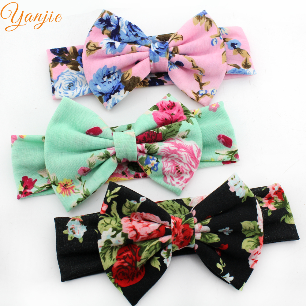 Trendy European Spring/summer Floral Cotton Infantile Bow Headband Hot-sale Elastic Kids Girl Diy Hair Accessories For Party