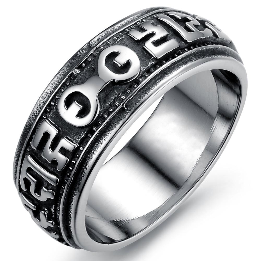 Men Black Ring Vintage Jewelry Wedding Engagement Big Ring Steampunk  Fashion Designer Good Luck Charm Items