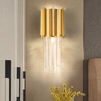 Золотой металлический каркас кристалл современные декоративные Крытый настенный светильник