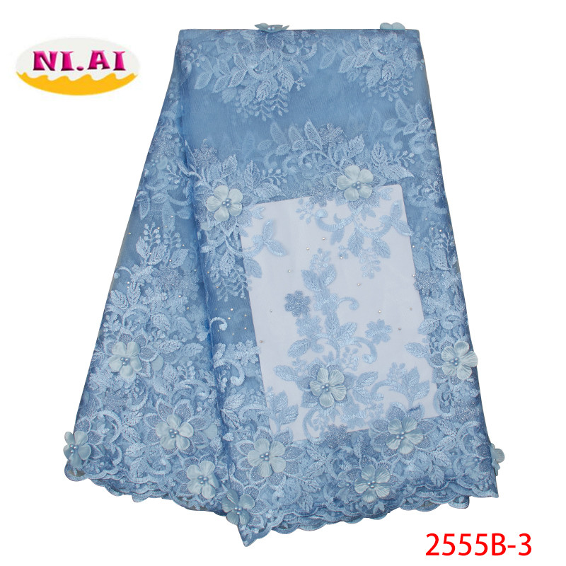 African 3D Lace Fabric 2019 Embroidered Nigerian Wedding Lace Fabric High Quality French Tulle Lace Fabric